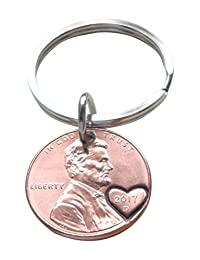 2017 Penny Keychain with Heart Around Year; Couples Keychain