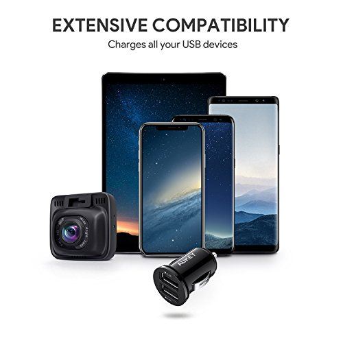AUKEY loved ones car Charger Flush in beneficial shape maximize Port 48A end product for iPhone X 8 7 Plus iPad Pro Air 2 tiny Samsung Galaxy Note8 S8 S8 and significantly more Black components Week