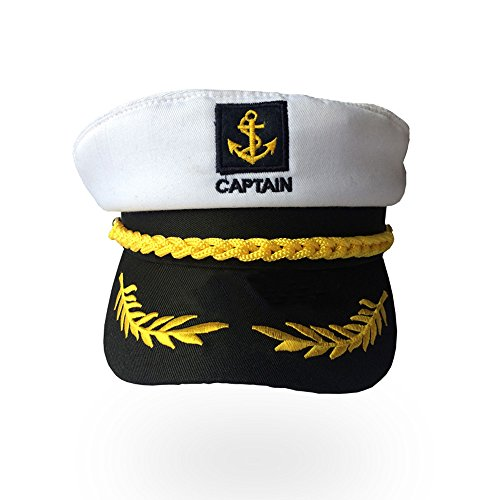 (Soochat Sailor Ship Yacht Boat Captain Hat Sea Cap Navy Marines Costume Accessory (White) )