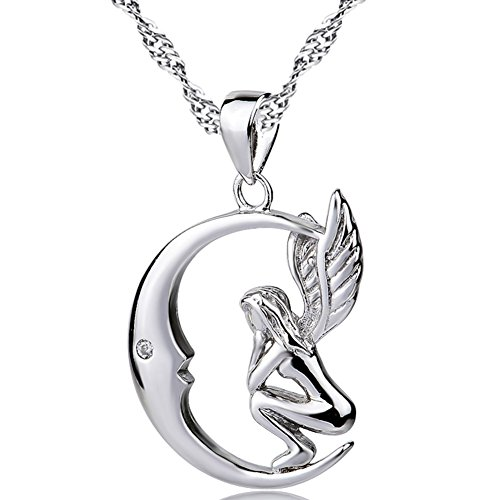 YFN 925 Sterling Silver Angel Wings Crescent Pendant 18'' Necklace by YFN
