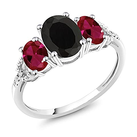 10K White Gold Diamond Accent Three-Stone Engagement Ring set with 2.30 Ct Oval Black Onyx Red Created - Set Oval Onyx Ring