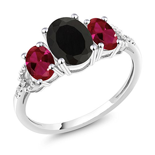(Gem Stone King 10K White Gold Diamond Accent 3-Stone Engagement Ring set with 2.30 Ct Oval Black Onyx Red Created Ruby (Size 7))