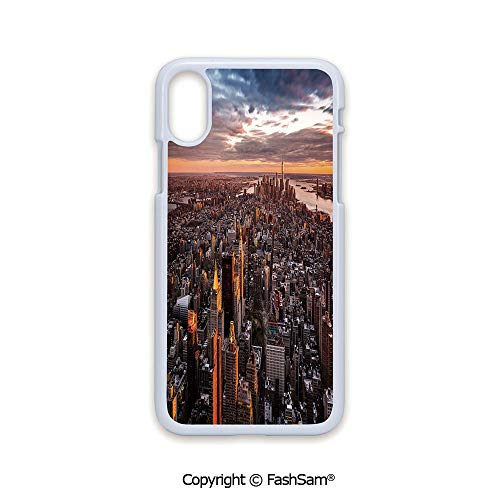Phone Case Compatible with iPhone X Black Edge Aerial View of The Manhattan Skyline at Sunset Famous Financial District NYC 2D Print Hard Plastic Phone Case]()