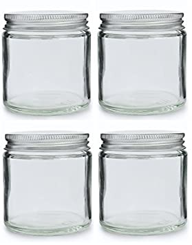060fe4fdd583 Pack of 4 x 120ml Clear Glass Cosmetic Jars with Aluminium Lids ...