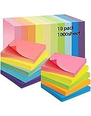 Aobetak Zelfklevende notitieblaadjes, 76 x 76 cm, 10 pads, 1000 gekleurd pastelpapier, zelfklevend, notitieblaadjes, recycling memo-plakbriefjes, sticky not, zelfklevend voor leraren, scholieren en kantoor