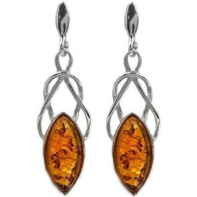 Amber Sterling Silver Small Celtic Stud Earrings nSmND