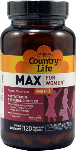 Country Life Max for Women Iron Free Multivitamin -- 120 Vegetarian Capsules - 3PC by Country Life