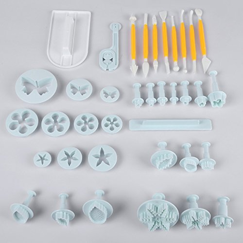 Cookie Cutter - 37pcs Fondant Molds Cake Sugarcraft Cookie Cutters Decorate Plunger Baking Decorating Set Diy Moon - Kids Roller Ornament Yoga Birthday 2.75 Guitar Pattern Tower Owl