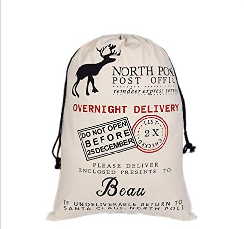 HUAN XUN Personalized Christmas Santa Sack Custom Name Beau Best Gifts Bags for Home Familys