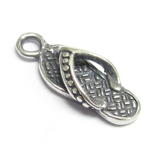 1 pc .925 Sterling Silver Flip Flop Slipper Dangle Charm Pendant/Findings/Antique from Dreambell
