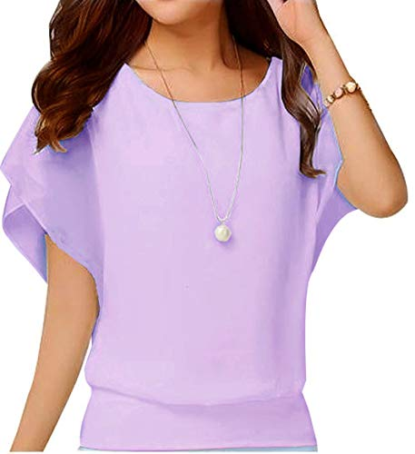 Viishow Women Chiffon Blouse Round Neck Short Sleeve Top Shirts