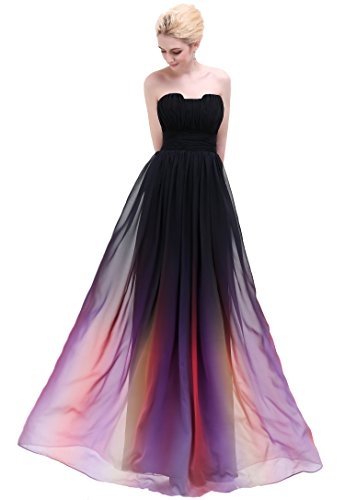 Esvor Strapless Pleats Ombre Chiffon Prom Dress Evening Gown Ombre Black 6