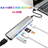 Type C Adapter,4K USB C to HDMI, Virwir 6 in 1 USB C Hub Splitter, USB-C Power Delivery, 2 USB 3.0 Ports Fast Transfer, SD/TF Card Reader, Portable for Apple Macbook Pro, iPad and More Type C Devices