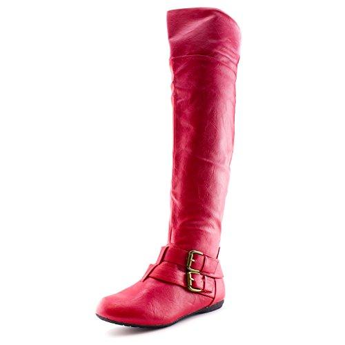Kali Dames Overknee Kunstleer Laarzen (volwassenen) Rood
