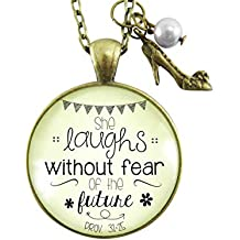 "24"" She Laughs Without Fear of the Future Faith Necklace For Women Glam Quote Jewelry Pendant Proverbs 31 25 Heel Charm"