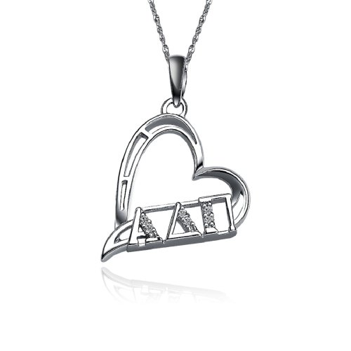 (Greek Star Alpha Delta Pi Heart Shape Silver Necklace with a 18