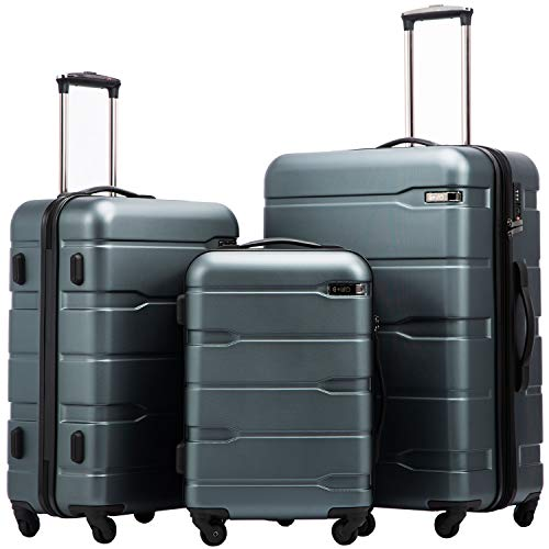(Coolife Luggage Expandable 3 Piece Sets PC+ABS Spinner Suitcase 20 inch 24 inch 28 inch (Teal New))
