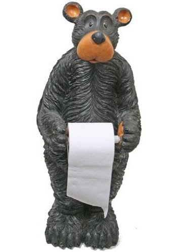 Willie Black Bear Toilet Paper Holder (Floor Standing) 29.5-inch by Bear Toilet Paper Holder