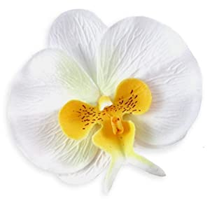"(10) White Yellow Phalaenopsis Orchid Silk Flower Heads - 3.75"" - Artificial Flowers Heads Fabric Floral Supplies Wholesale Lot for Wedding Flowers Accessories Make Bridal Hair Clips Headbands Dress 110"