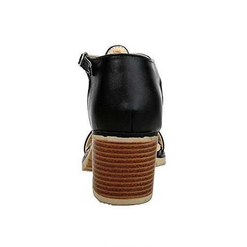 Boucle Ouverture D'Orteil G2 à AalarDom Noir Sandales Talon Pu femme Correct Cuir 6x8SAw