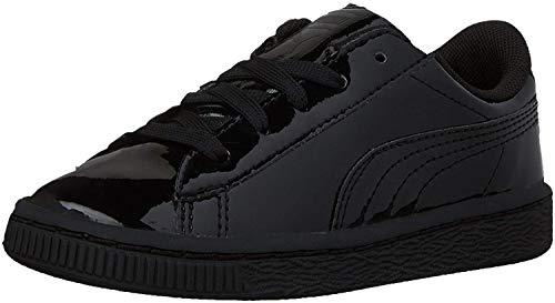 PUMA Boys' Basket Classic Patent INF Sneaker, Black Black, 4 M US Toddler