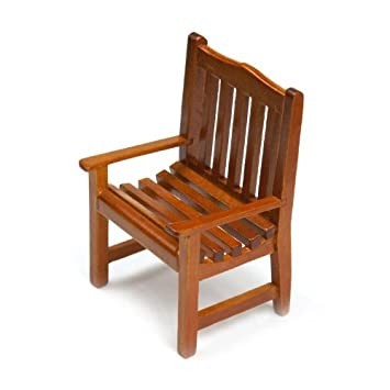 Attractive MyTinyWorld Dolls House Miniature Solid Wood Slatted Garden Chair