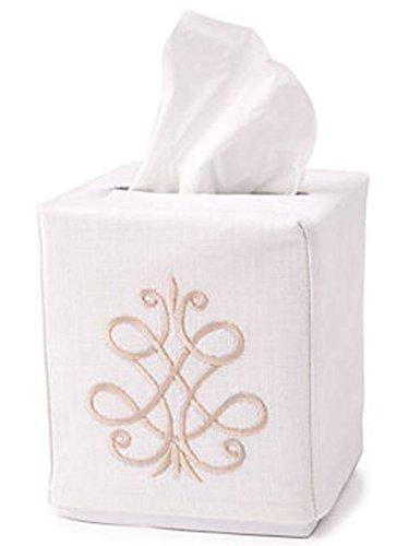 Jacaranda Living Linen/Cotton Tissue Box Cover, French Scroll, Beige Linen Scroll