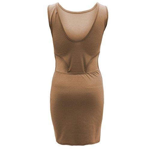 ENVY FRANKI de destornilladores para mujer de Gasa de baño MINI BODYCON circuito de fiesta vestidos ajustados de la liga de encaje Mocha-Cutout Dress