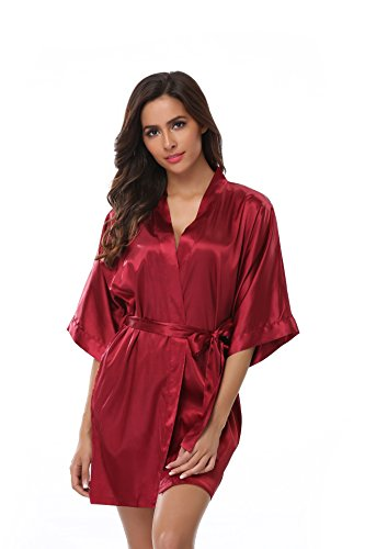 Women's Bridesmaid Kimono Robe Solid Color Short Silk Bathrobe with Satin Belt for Wedding Party Wine L -