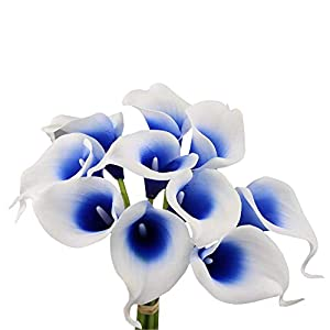 Angel Isabella 10pc Set Real Touch Calla Lily-Keepsake Artificial Flower Perfect for Cut to Make Boutonniere Corsage Bouquets (Picasso Royal Blue)