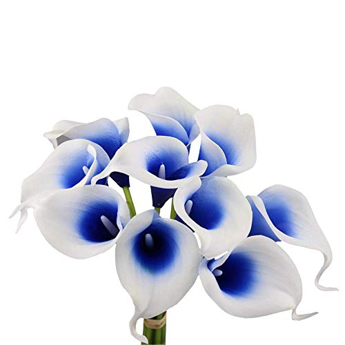 Angel Isabella 10pc Set Real Touch Calla Lily-Keepsake Artificial Flower Perfect for Cut to Make Boutonniere Corsage Bouquets (Picasso Royal Blue)]()
