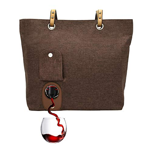 PortoVino City Wine Tote (Chocolate) - Fashionable Wine Purse with Hidden, Insulated Compartment, Holds 2 Bottles Wine!