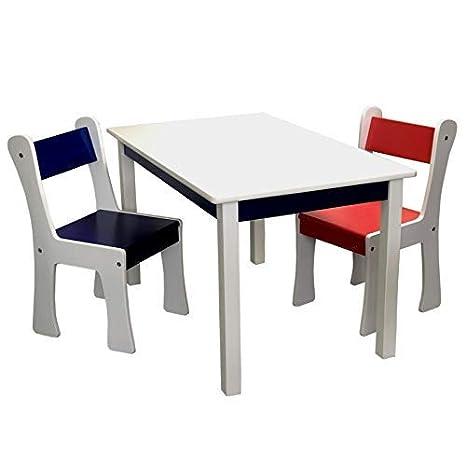 Holz Bunt Rot Kinderstuhl Set Blau Mit In X Für Kinderzimmer Kindersitzgruppe Weiss Mdf Xxl Aus Tisch 2 Und jLR4A53