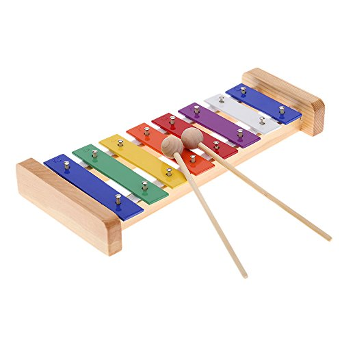 - Andoer Wood Pine Xylophone Percussion Musical Toy with 8-Note 3mm Colorful Aluminum Plate C Key for Toddle Kid