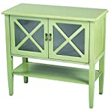 Heather Ann Creations Modern 2 Door Accent Console Cabinet with X Pane Glass Insert and Bottom Shelf Lime Review