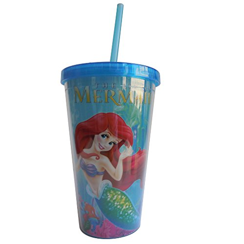 Silver Buffalo DP68087 Disney's Princess Ariel Mermaid Fun with Lid and Straw Plastic Cold Cup, 16 oz, (Little Mermaid Cups)