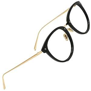 TIJN Round Vintage Optical Eyewear Non-prescription Eyeglasses Frame with Clear Lenses for Women