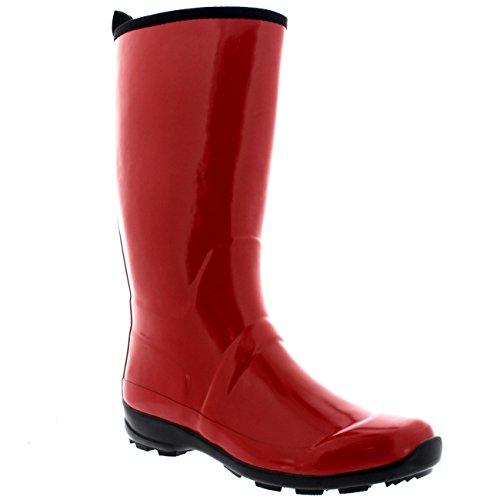 Rubber Sole Waterproof Boots Winter Dark Rain Tall Womens Contrast Gloss Red Wellies 1tq5gAAx
