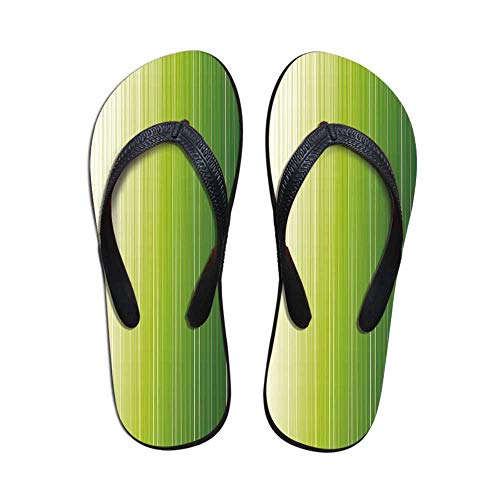 Sage Non Slip Flip Flops,Ombre Style Composition with Color Shades and Vertical Digital Stripes Decorative for Shower Spa Party,US Size 7 ()