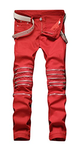 Men's Red Ripped Stretch Skinny Straight Cut Slim Fit Jeans Pants with Zipper