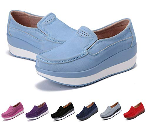 Blue Rocker Sky - gracosy Slip-On Platform Shoes, Women's Suede Soft Toning Rocker Shoes Shape UPS Sneakers Walking Shoes Sky Blue