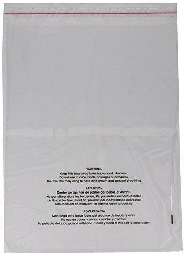 Uline Suffocation Warning Poly Bag, 1.5 ml Self-Sealed, 100 Count (S-19131) 11x14 (Bags Poly Top Open)