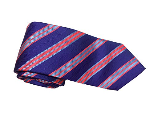 Robert Talbott Purple with Red and Light Blue Stripes Welch Margetson Best of Class Extra Long Tie ()