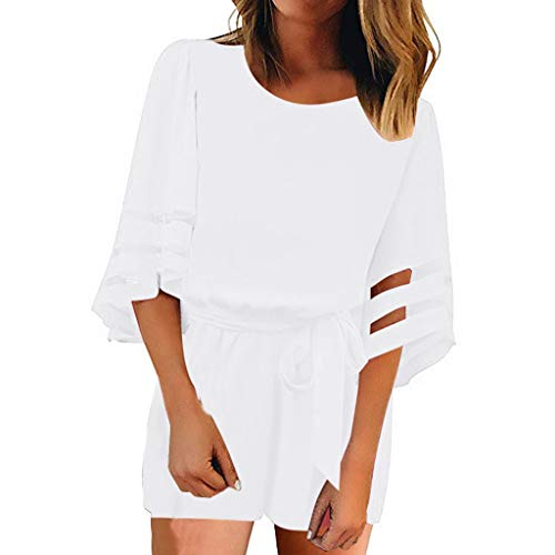 Goddessvan 2019 Women Mesh Panel Bell Sleeve Self-Tie Belted Short Romper Jumpsuits White