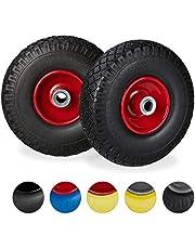 Relaxdays 2 x steekwagenwiel, lekvrije rubberen banden, 3,00-4 inch, 20 mm as, tot 100 kg, 260 x 85 mm, verschillende Kleuren: