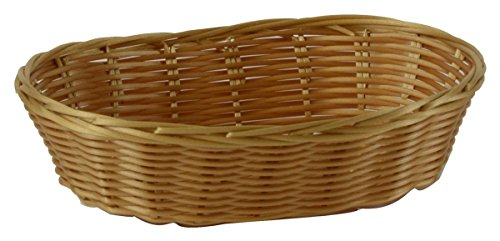 Displays2go Small Oval Plastic Coated Wire Woven Basket, Golden Finish, Wicker Style, Hand Washable, Mold Resistant, 9 x 2-1/2 x 6-1/4-Inch - Sold In A Set Of ()