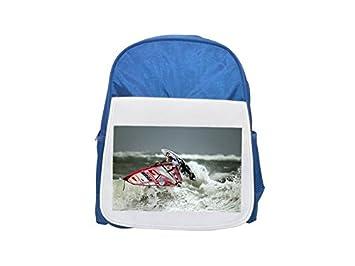 Mochila de viento, surf, surfing, surfero estampado azul infantil, mochilas lindas,