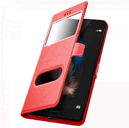 Hidashopp Coque Huawei P10 Lite Rouge Housse étui Flip Cover Double fenetre, Ultra Fine étui de Protection Coque Huawei P10 Lite Couleur de l'étui - ...