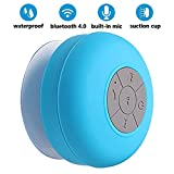 Shower Speaker Bluetooth Waterproof,BONBON Handsfree Portable Speakerphone Built-in Mic,Pairs Easily to All Bluetooth Devices,Dedicated Suction Cup for Showers,Bathroom,Pool,Outdoor(Blue)