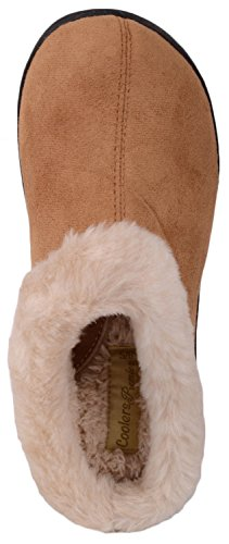 Womens Indoor with Shoes Ladies Faux Slippers On Tan Warm Inners Mules Slip Fur Xgx00d6Wqw